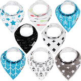 Baby Bandana Drool Bibs by Dodo Babies + 2 Pacifier Clips + Pacifier Case in a Gift Bag, Pack of 8 Premium Quality for Boys or Girls, Excellent Baby Shower/Registry Gift