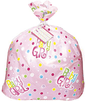 "Unique Jumbo Plastic Pink Polka Dot Girl Baby Shower Gift Bag, Multicolor, 44"" x 36"" - 61865"