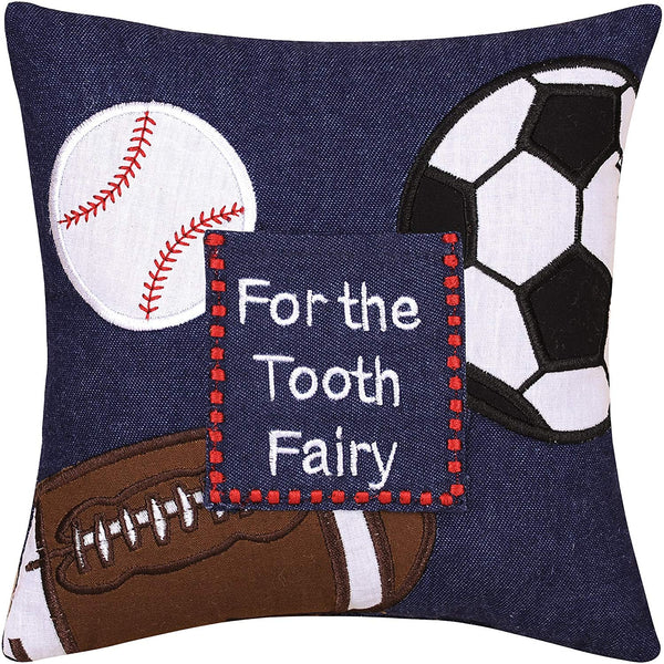 "C&F Home ""For The Tooth Fairy"" Sports Theme (Football, Baseball, Soccer) Decorative Pillow, 8x8, Blue"