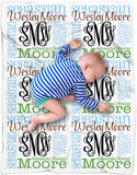 "Personalized Baby Name Blanket Monogrammed Baby Shower Gift (Vine Monogram - Earthy 30"" x 40"")"