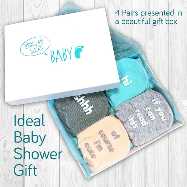 Baby Socks Gift Set - Unique Baby Shower or Newborn Gift - 4 Pairs of Cute Funny Quotes in Gift Box