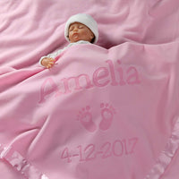 Personalized Newborn Gifts for Baby Girls, Boys, OR Parents - (36 x 36 inch) Satin Trim Custom Blanket with Name Plus Hearts and Feet Design - Add Birth Date, Weight (Pink, Blue - Long Text)