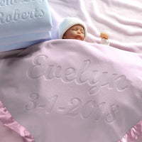 Custom Catch Personalized Baby Blanket, Pink or Blue, Boy or Girl Unisex Gift for Newborn or Infant (Multi-line Text)