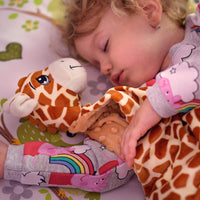 Weenizz Loveys for Babies with Pacifier Clip - Unique Super Fluffy Giraffe Soother Blanket Baby Security - Gentle on Skin,Helps Calm Kids to Sleep for Infants, Newborn, Christmas