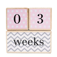 Premium Solid Wood Milestone Age Blocks | Choose from 3 Different Color Styles (Pink) | Baby Age Photo Blocks | Perfect Baby Shower Gift and Keepsake by LovelySprouts