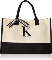 Mud Pie 501110 K-Initial Canvas Tote