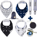 Baby Bandana Drool Bibs by Dodo Babies + 2 Pacifier Clips + Pacifier Case in a Gift Bag, Pack of 4 Premium Quality for Boys or Girls, Excellent Baby Shower/Registry Gift