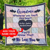Personalized Custom Name Grandma Quilt Fleece Throw Blankets Comforter Twin Queen Size Christmas Birthday Customized Gifts for Nana Mimi Gigi Grandmother from Granddaughter Grandkids Grandson