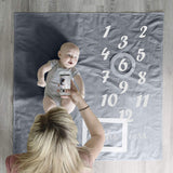 Grey Baby Milestones Blanket with Milestone Stickers | Soft Newborn Photography Background Large Blanket | Gender Neutral Monthly Girls or Boys Photo Prop | Best Baby Shower Gift