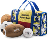 Prextex My First Sports Bag Playset with Stuffed Plush Basketball, Baseball, Soccer Ball and Football Great Gift Toy for Baby and Kid