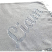 Custom Catch Personalized Baby Blankets (Blue), Large 36x36 Inch, Wide Satin Trim, 200 GSM Fleece