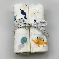 2pcs/set Newborn Baby Blanket 100% Cotton Blanket Cartoon Pattern Multi-use Infant Stroller Cover Towel Baby Muslin Swaddle Wrap