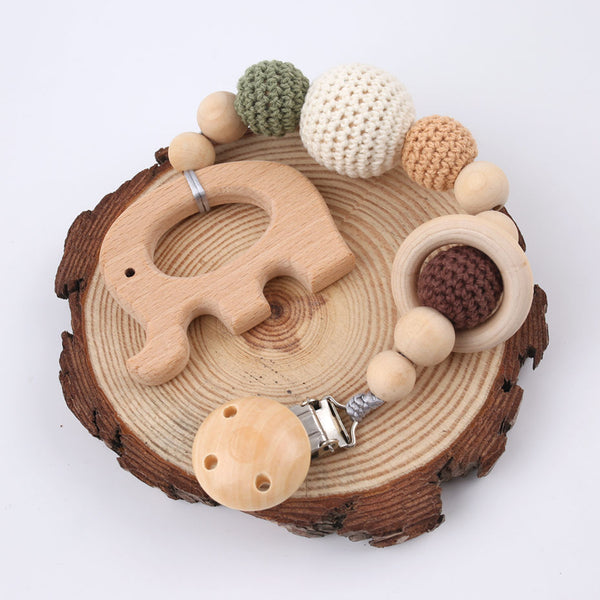 1PC Baby Wooden Teether Pacifier Clip Chain Elephant Pendant Crochet Beads Rodent Soother Clip Baby Shower Gift For Kids Toys