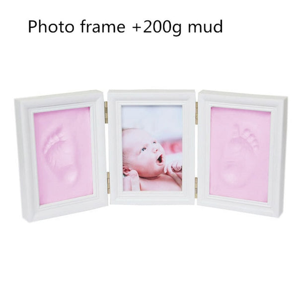 Baby Hand & Foot Print Hands Feet Mold Maker Baby Photo Frame With Cover Fingerprint Mud Set Baby Growth Memorial Gift