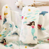 sea flower 70% bamboo+ 30% cotton baby Swaddle Wraps Cotton Baby muslin swaddle blankets Newborn big diaper  bamboo muslin quilt