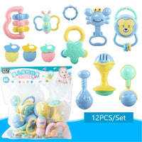 12Pcs/Set Baby Rattle Toys 0-12 Months Jouet Bebe Cartoon Hand Grip Soft Rattles Shaker Teether Infant Newborn Educational Toys
