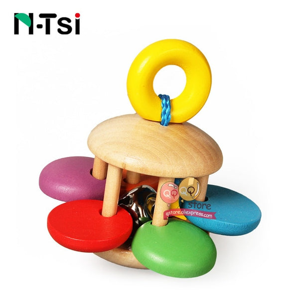 N-Tsi Wooden Baby Rattles Grasp Play Game Teething Infant Early Musical Educational Toys for Children Newborn 0-12 months Gift