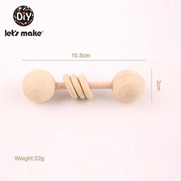 Wooden Rattle Baby Toys 1pc Beech Bear Hand Teething Wooden Ring Baby Rattles Play Gym Montessori Toy Stroller Educational Toys