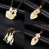 Gold Silver Color Family Baby Mother Maternal Love Stainless Steel Statement Women Girl Custom Pendant Necklace Jewelry Gift