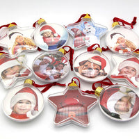 Baby Memory Christmas Transparent Plastic Photo Five-star Ball Christmas Decorations X-mas Baby Gifts For Home Diy Kids Gifts