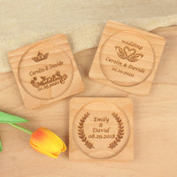 1 piece Personalized Name Date custom Engraved logo Wood Cup Mat Cork Coaster Wedding Souvenirs Guest baby shower Gift