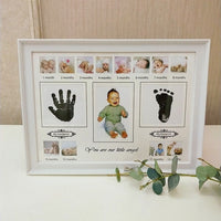Cute Baby Photo Frame DIY Handprint or Footprint Ink Imprint Pitcture Birthday Gift for Baby Wall Picture Frame Home Decorations