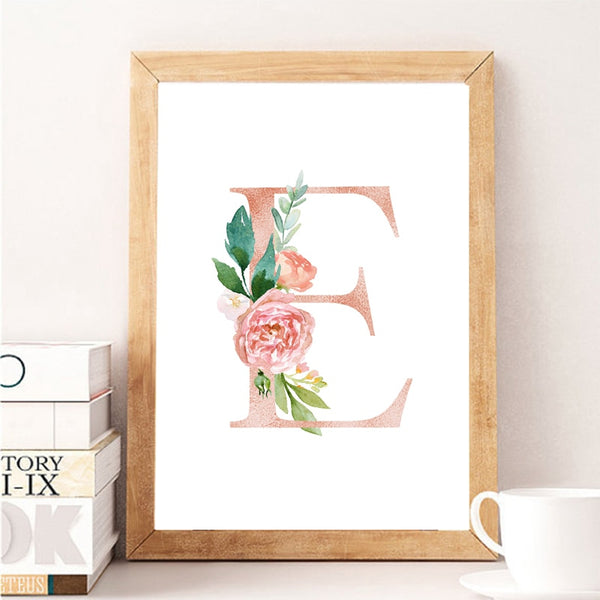 Baby Girl Personalized Gift Print Nursery Art Custom Girl's Name Sign Canvas Painting Floral Monogram Flowers Poster Wall Decor