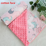 2 layers 3D dot cartoon whale minky coral fleece soft thermal toddler child winter baby blanket kids back seat cover baby quilt