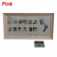 Baby 12 Months Hand Foot Print Commemorative Photo Frame Newborn Growth Record baby hand-printed clay toy gift non-toxic imprint