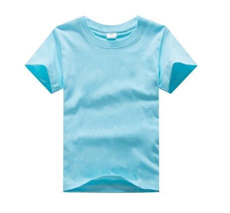 Customized Children Plain Shirts Pure Solid Summer 2-14Years Baby Boy Personal Print Shirts Birthday Gift Costumes Girls T-Shirt