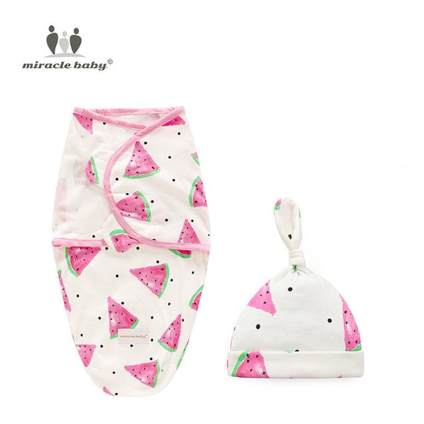 Baby Blanket Swaddle + Cap Newborn Cocoon Wrap Cotton Swaddling Bag Baby Envelope Sleep sack Bedding