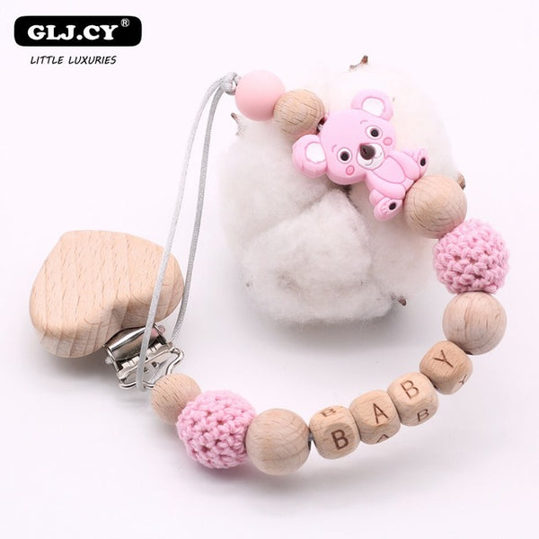 New DIY Cartoon Cute Koala Silicone Pattern Wooden Personalized Name Baby Pacifier Clips Chain BPA Free Child Holder Gift