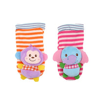 Wrist Strap Rattles Animal Socks Toy New A Pair 2pcs/set Baby Infant Soft Handbells Hand Foot Developmental Toys 0-12Months