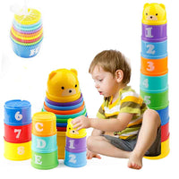 8PCS Educational Baby Toys 6Month Figures Letters Foldind Stack Cup Tower Children Early Intelligence Alphabet Toy for Children