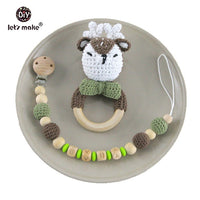 Baby Toys 1set Crochet Amigurumi Elephant Owl Rattle Bell Custom Newborn Pacifier Clip Montessori Toy Educational Baby Rattle