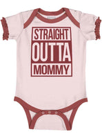 Straight Outta Mommy Funny Shower Gift Idea Infant Baby Ruffled Trim Romper