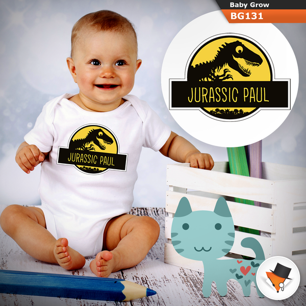 0-3 Months Baby Grows Personalised Jurassic Park Christmas Gifts Boys Girls