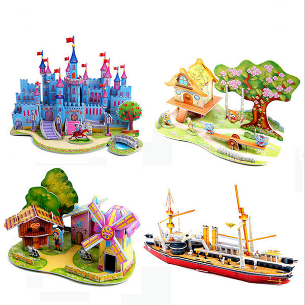 3D DIY Puzzle Jigsaw Baby Toy Construction Gift For Children Houses Puzzle _sh