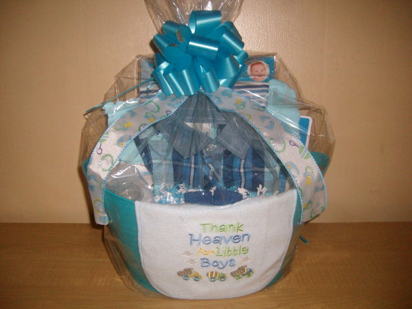 """Thank Heaven for Little Boys"" Baby Shower Gift Basket or Centerpiece"