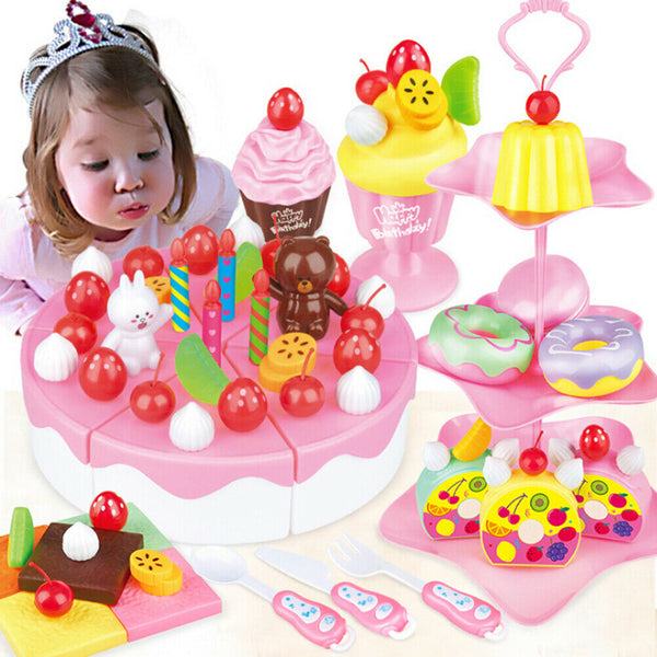 1Set DIY pretend play fruit cutting birthday cake kitchen toys for children gift