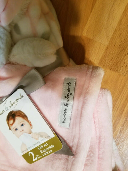 Blankets & Beyond Plush Pink & Gray Bunny Rabbit Security Blanket 2pc Gift Set