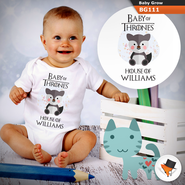 0-3 Months Baby Grows Personalised Game Of Thrones Stark Christmas Gifts Present