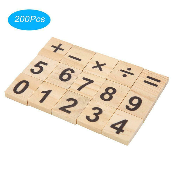200 Pcs/set 0-9 Mixed Wood Number Tiles Toys for Preschool Children Perfect Gift