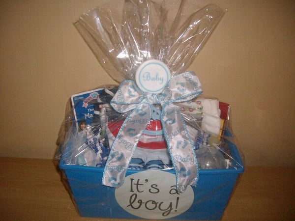 """It's A Boy"" 18 piece Baby Shower Gift Basket or Centerpiece"