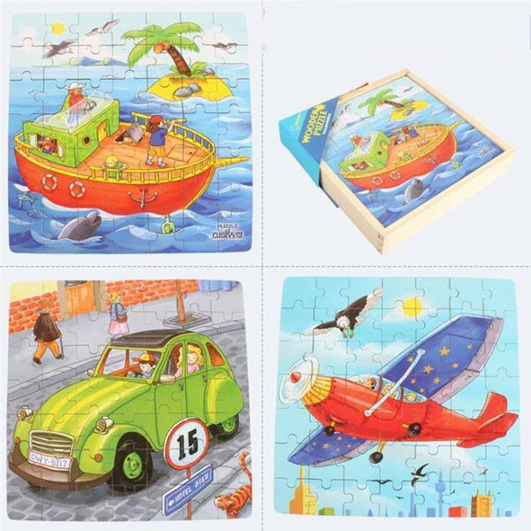 3 in 1 Jigsaw Puzzle Wooden Game Early Educational Toys Children Gifts YO