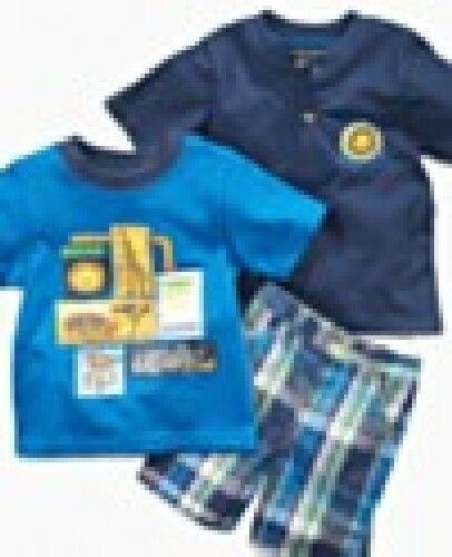 (3 piece set) Nannette Baby Boys 2 Shirts and short set NWT Baby Shower gift