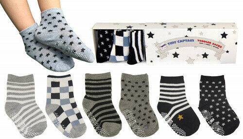 (Black, White, and Grey) - Tiny Captain Toddler Boy Non Slip Socks, Best Gift