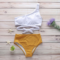 One Shoulder Solid Knot Bikini Set