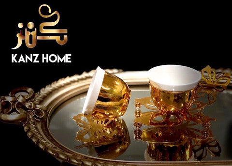 Gold vintage Turkish coffee cups set