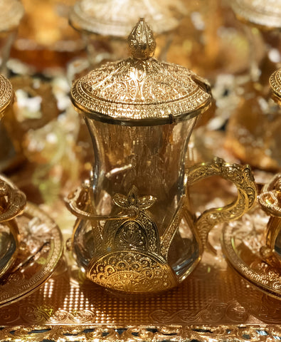 Luxury gold Turkish tea set